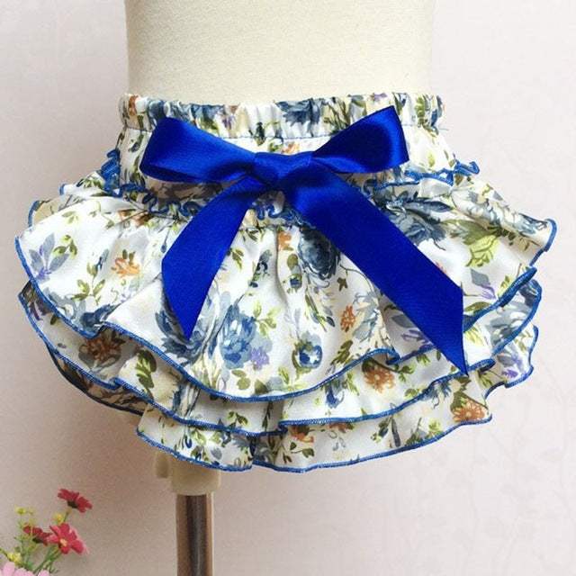 Baby Floral Silk Bow Satin Ruffle Diaper Cover Bloomers