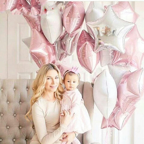 12PCS Baby Shower 18 inch Pink White Star Helium Foil Balloons Party Decoration