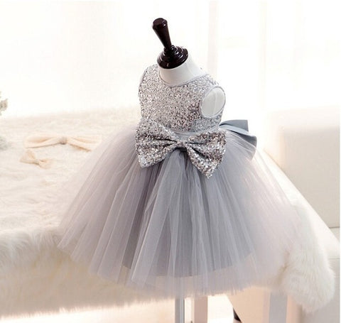 New Silver Sequins Sleeveless Princess Baby Girls Dresses