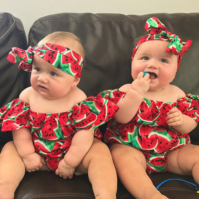 Baby Watermelon Bodysuit+Headband Set