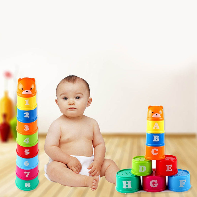 9pcs/set Stack Cup Tower Figures Letters Educational Birth-24 Months