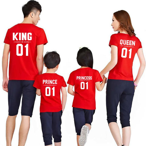 Family Matching outfits T-Shirts King Queen Prince Princess