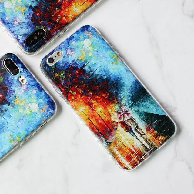 MISSCASE Phone Case for iphone X 10 7 8 Plus Van Gogh Star print Soft TPU Cover coque for Apple iPhone 6 6s plus 5 5S SE Case