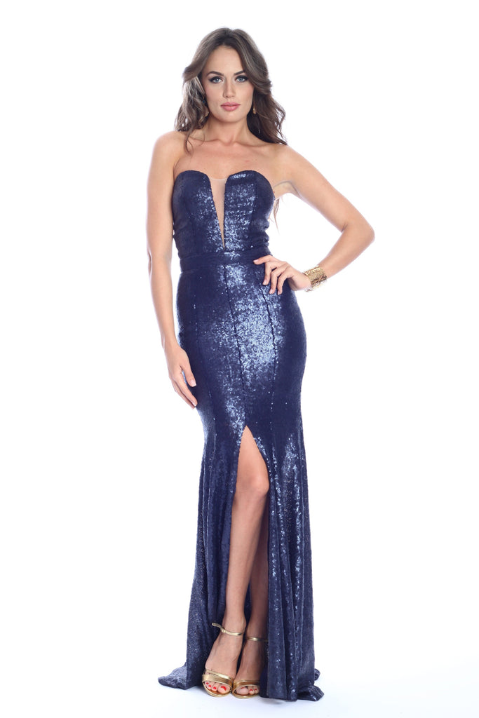 ROSERRY corset leg out sequin maxi dress in navy