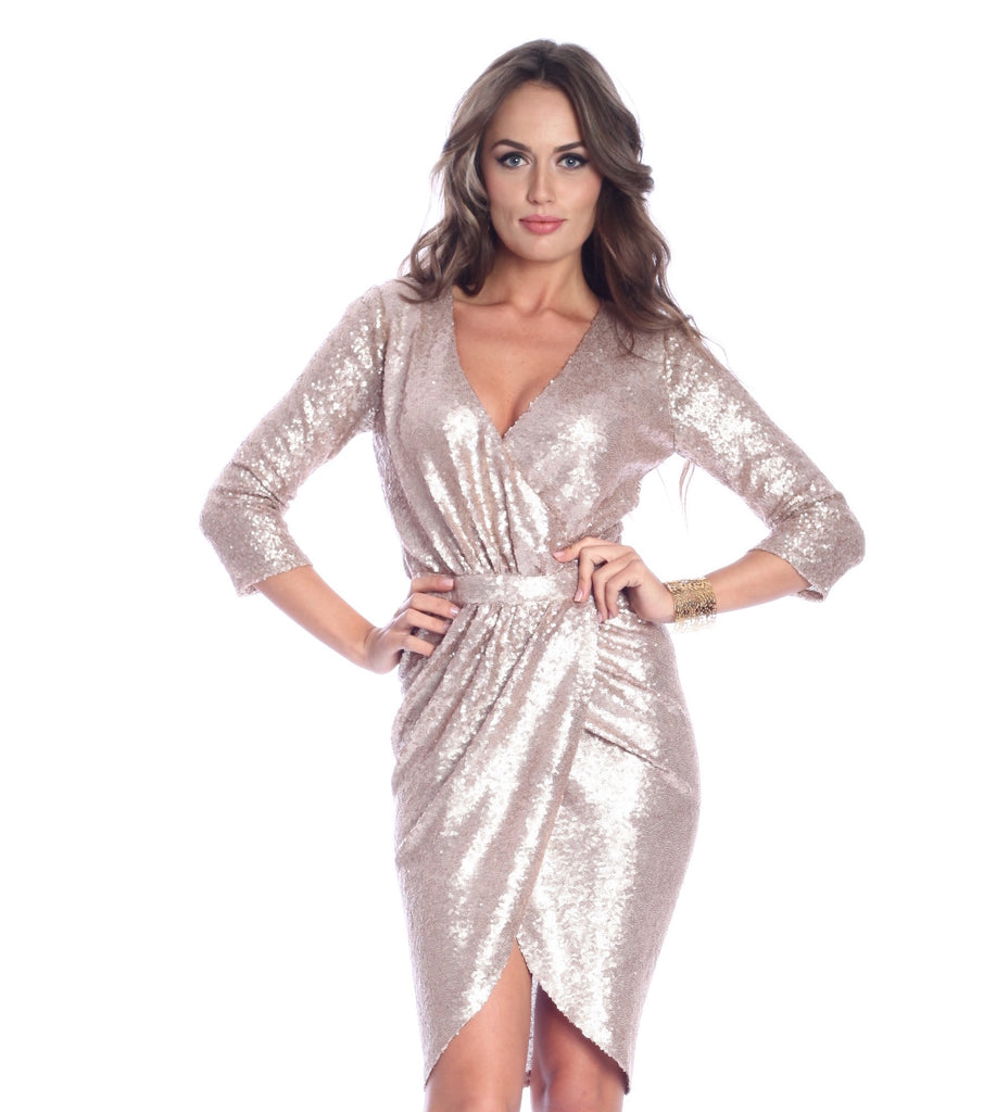 ROSERRY sequin wrap midi dress in gold