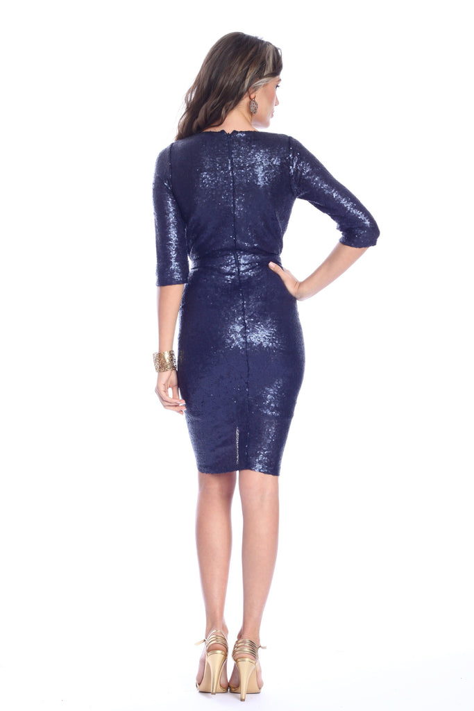ROSERRY sequin wrap midi dress in navy