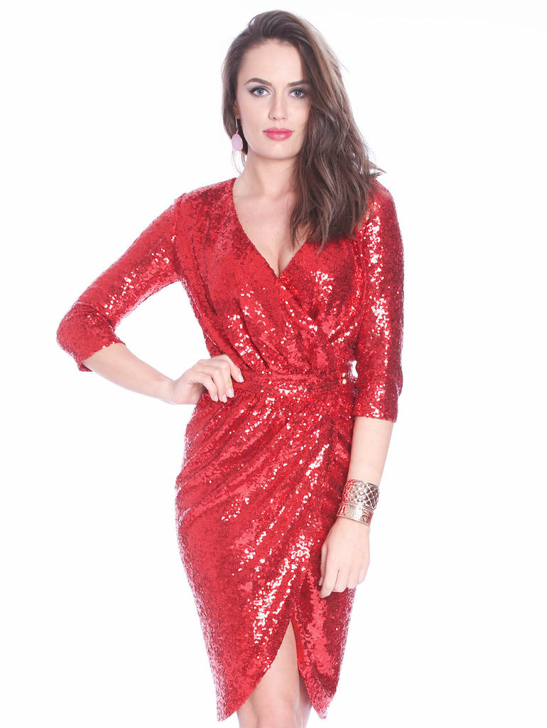 ROSERRY sequin wrap midi dress in red