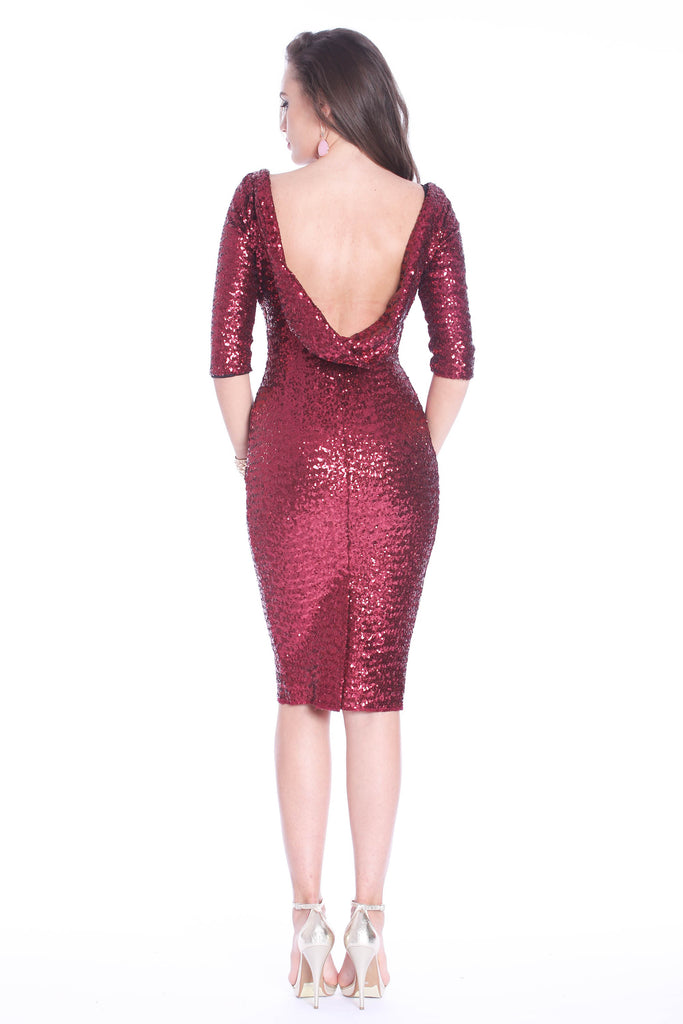 ROSERRY sequin bodycon midi dress in burgundy