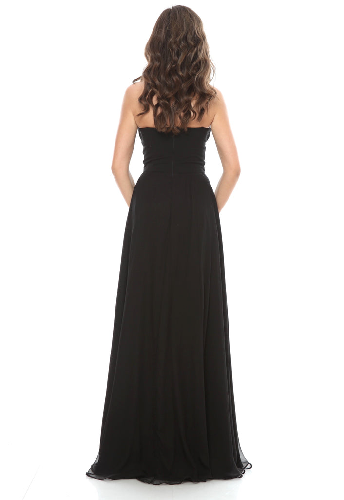 ROSERRY Venice corset detail maxi silk dress in black