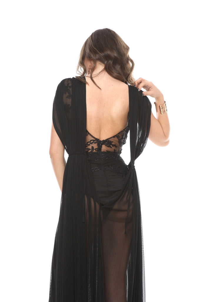 ROSERRY Mykonos embroidery bodysuit silk tulle maxi dress in black