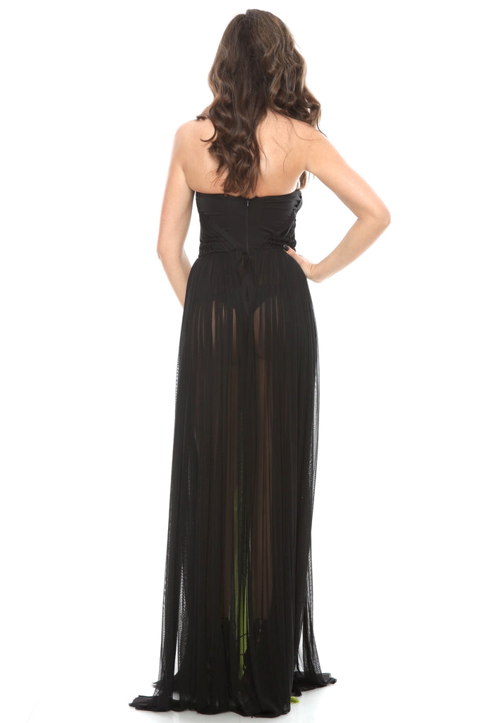 ROSERRY Crete corset detail maxi silk tulle dress in black