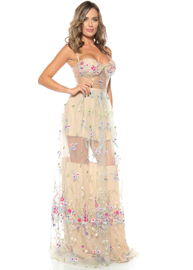 ROSERRY Florence embroidery floral maxi corset dress in nude