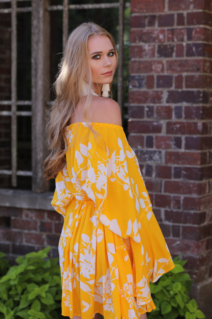 ROSERRY Bahamas viscose off shoulder long sleeve midi dress in yellow flower print