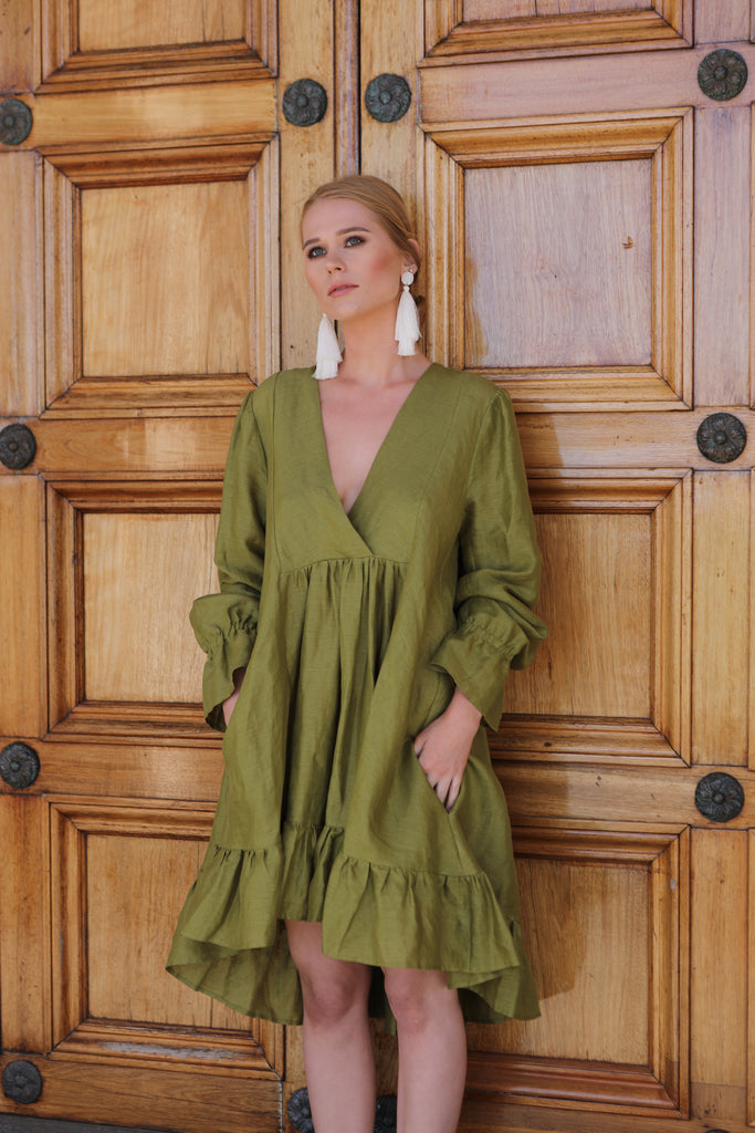 ROSERRY Paris linen midi dress with tiered ruffle skirt in green
