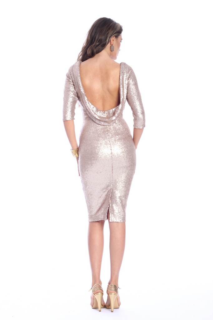 ROSERRY sequin bodycon midi dress in gold