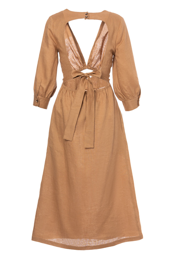 ROSERRY Ubud linen cross open back midi dress in nude