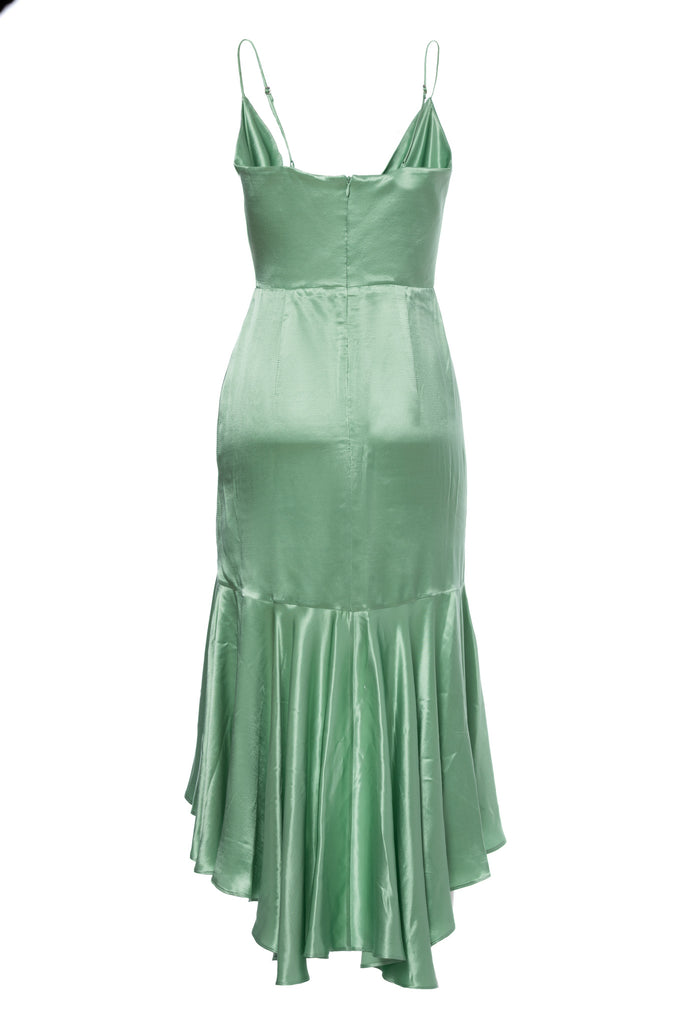 ROSERRY Seville satin viscose wrap ruffle midi dress in green
