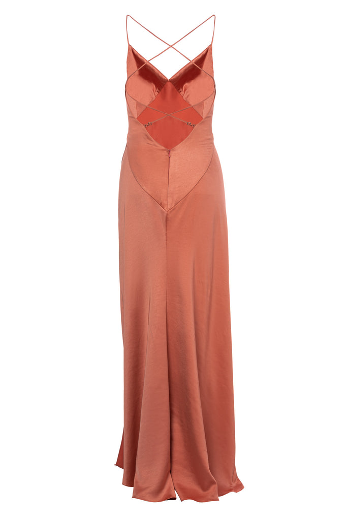 ROSERRY Provence bias satin split leg dress in coral
