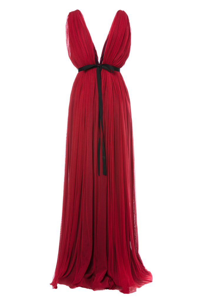 ROSERRY Santorini plunge neck maxi silk tulle dress in red