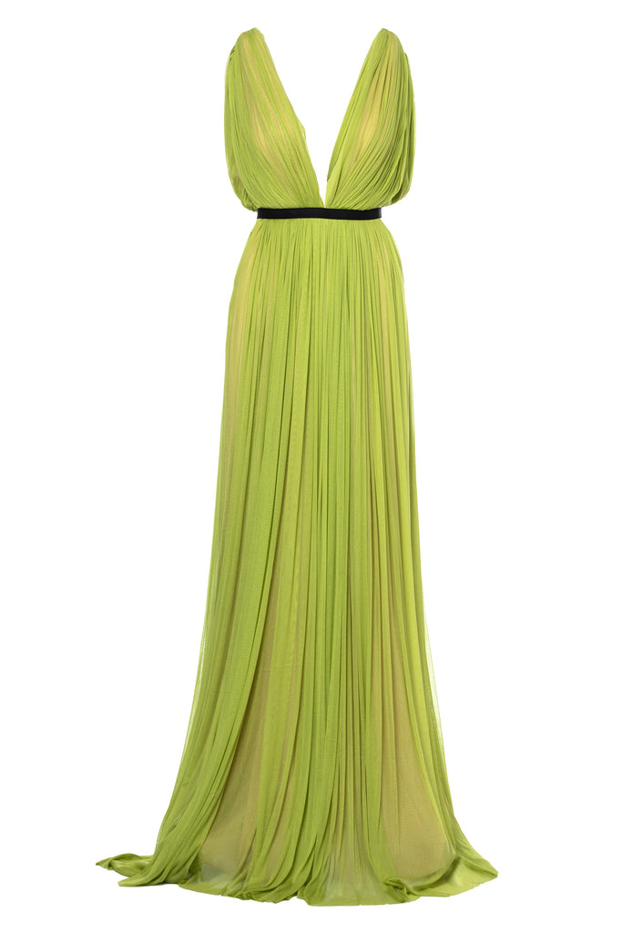 ROSERRY Santorini plunge neck maxi silk tulle dress in lime