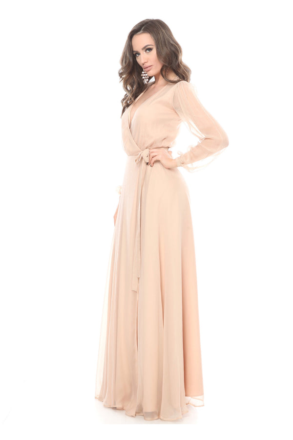 Beige Silk Wrap Maxi Dress