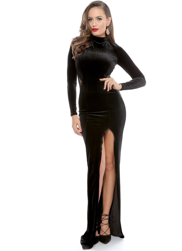 Black High Low Lace Embellished Velvet Evening Dress