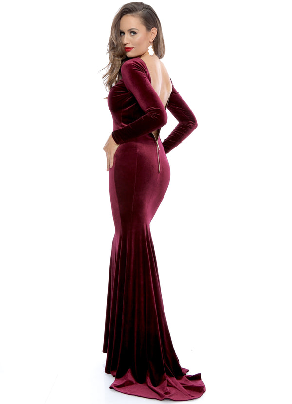 Burgundy Zipper Backless Sexy Mermaid Velvet Evening Dress