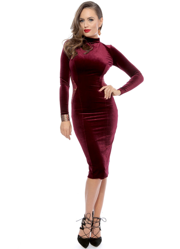 Burgundy Vintage Lace Embellished Velvet Midi Dress