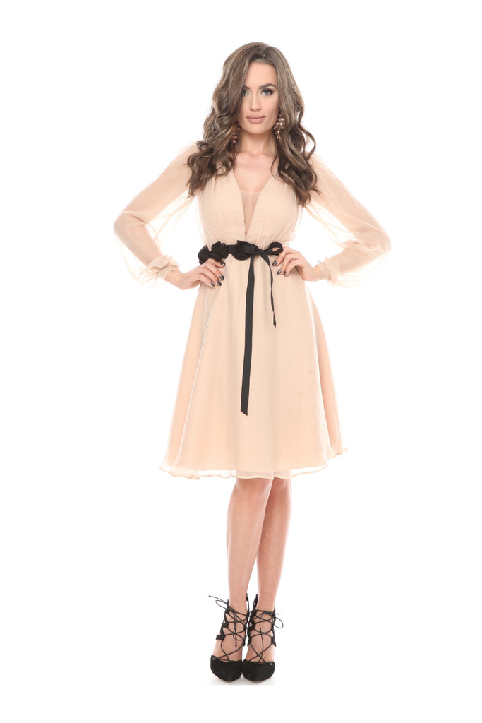 ROSERRY Siena midi silk dress in nude