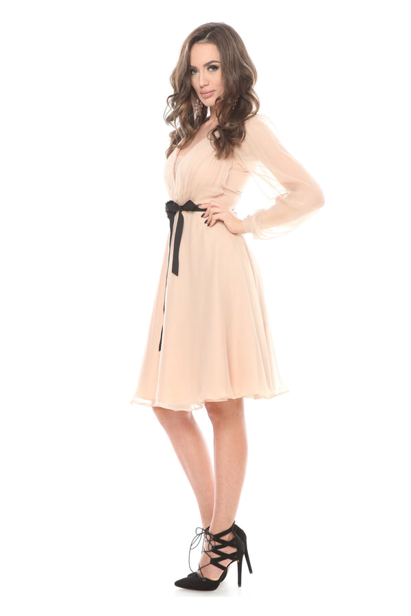 Beige Wrap Midi Silk Dress