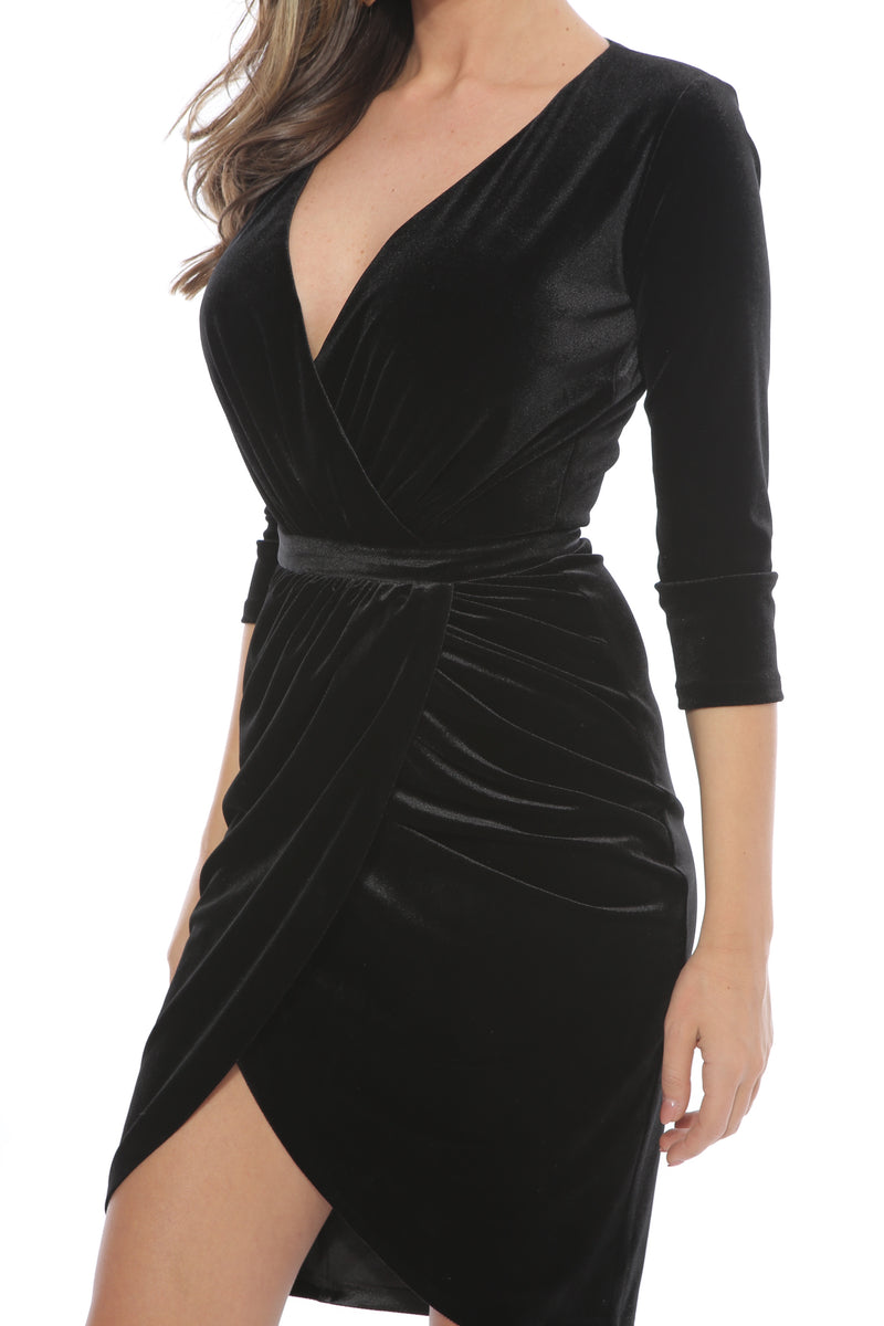 Black Bodycon Plunging Neck Velvet Midi Dress