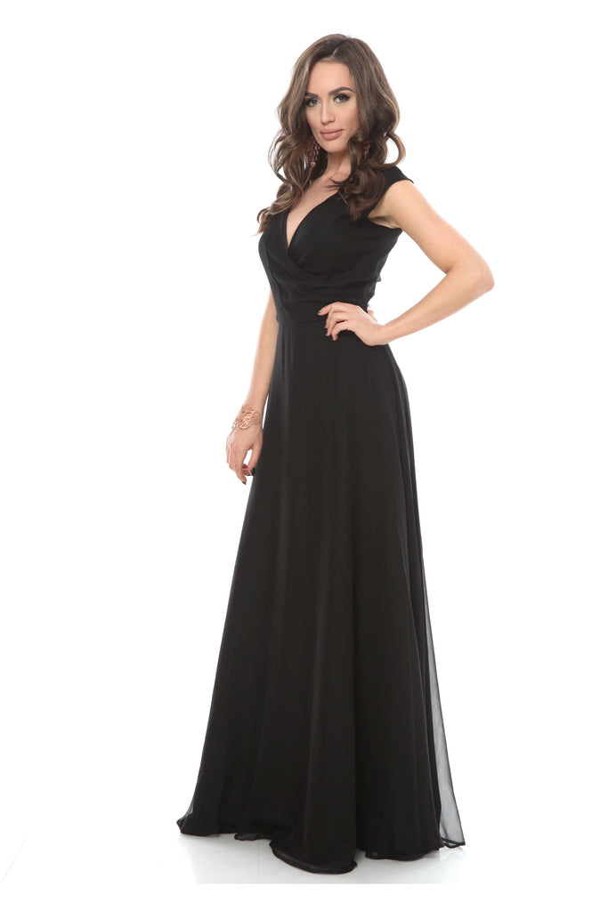 ROSERRY Rome wrap maxi silk dress in black