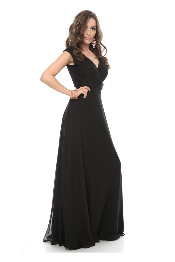 Black Whistles Silk Wrap Maxi Dress