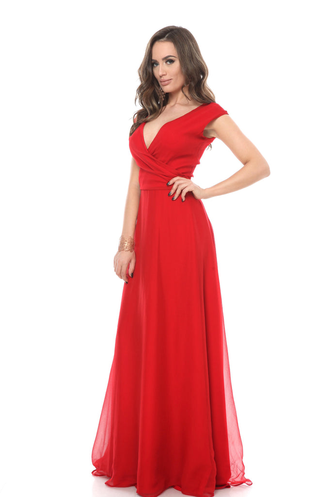 ROSERRY Rome silk wrap maxi dress in red