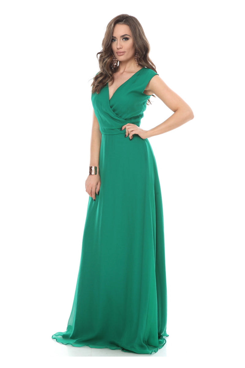 Green Whistles Silk Wrap Maxi Dress