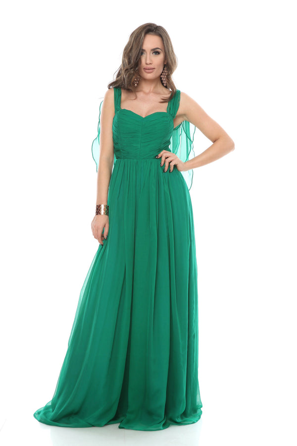 Green Silk Maxi Dress With Corset Detail