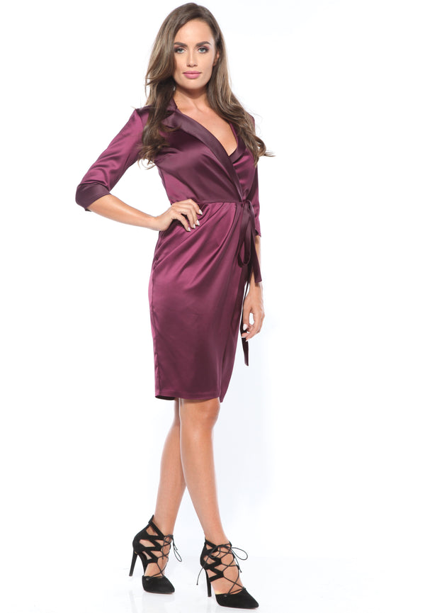 Purple satin wrap midi Dress