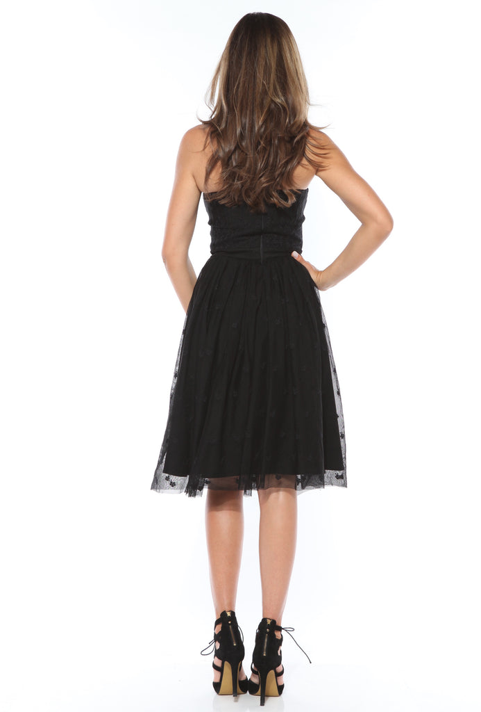 ROSERRY embroidery midi dress with corset in black
