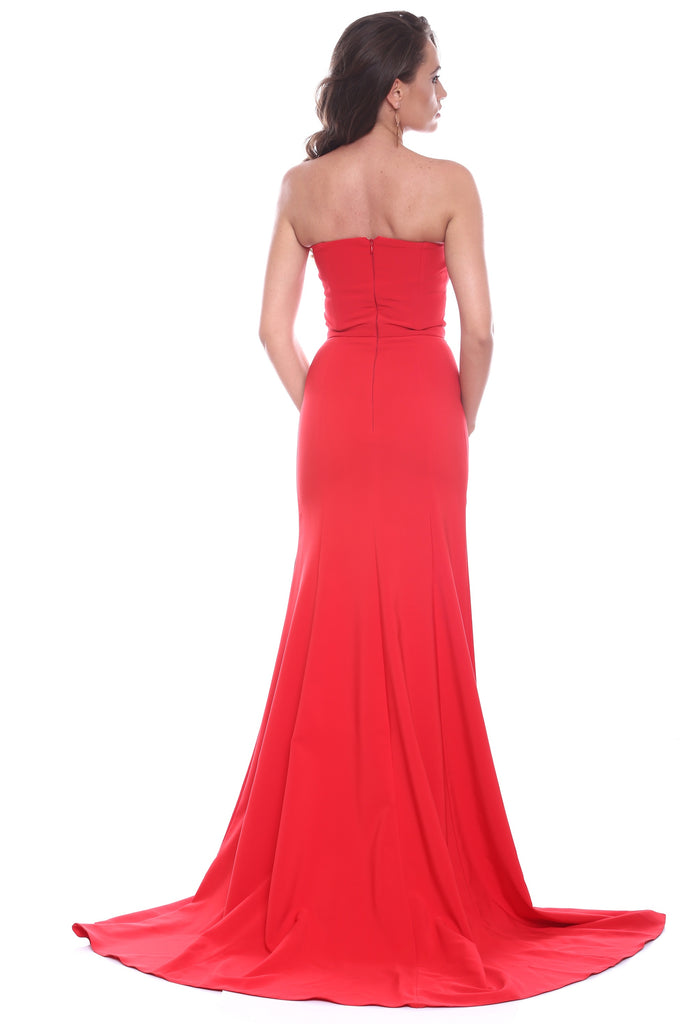 ROSERRY Cannes mermaid sweetheart split leg maxi dress in red