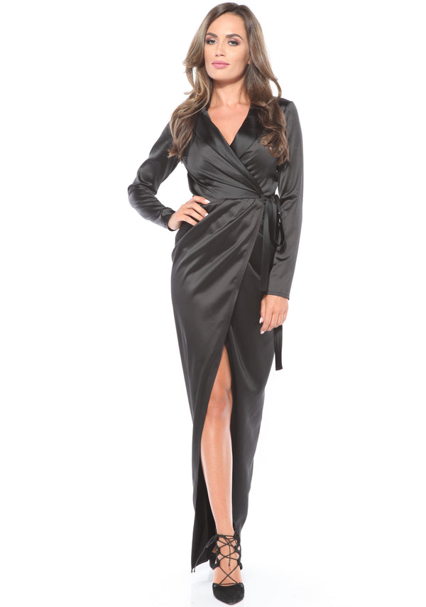 Black satin wrap Maxi Dress