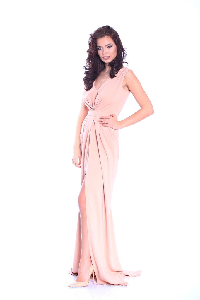 ROSERRY plunge front wrap detail maxi dress in nude