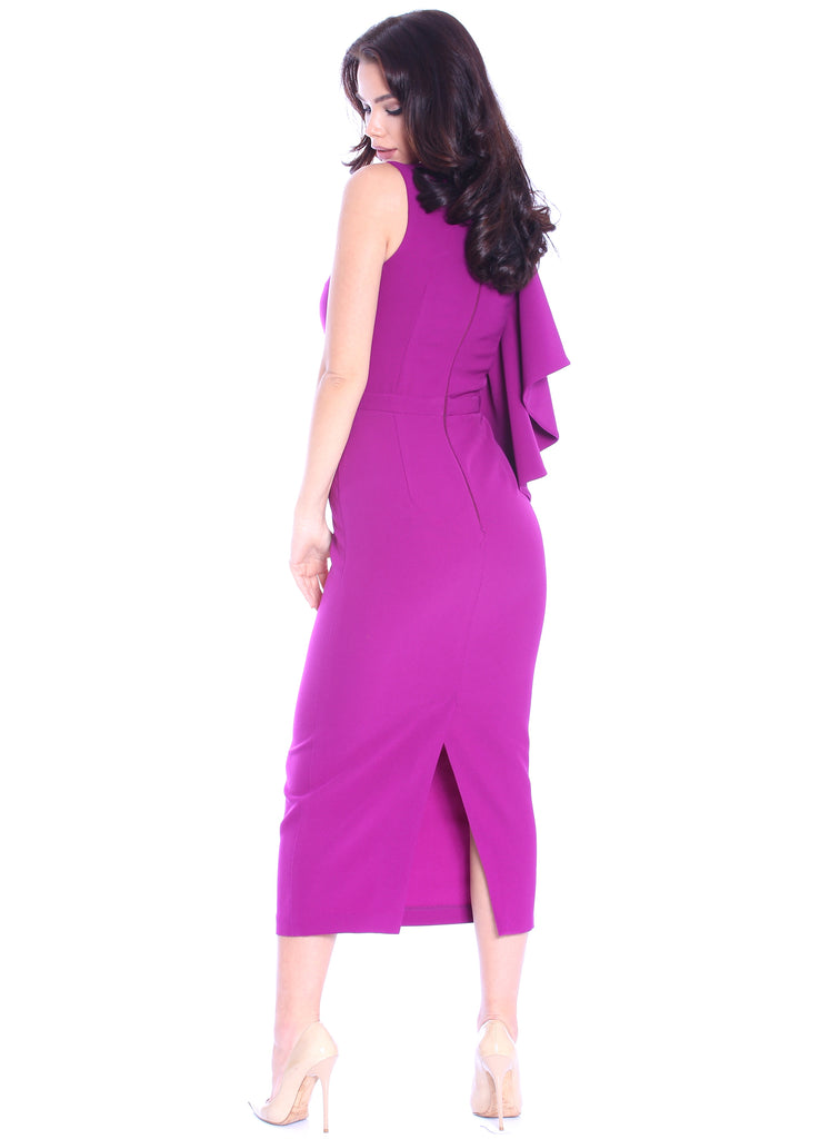 ROSERRY pencil midi dress with ruffle sleeve in orchidee