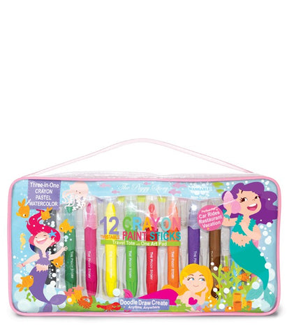 Brilliant Crayon Paint Sticks Travel Tote-Magical Mermaids