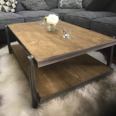 CUSTOM MADE / BESPOKE Steel Wood Coffee Table / - Handmade In England -