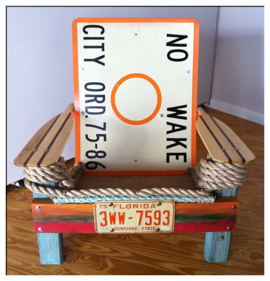 Reclaimed Wooden Chair, No Wake Sign