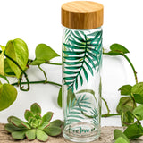 Sold Out - Back online soon.  Borosilicate glass water bottle with bamboo lid