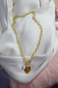 Heart Pendant Necklace on Thick Gold Chain