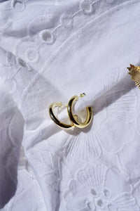 Thick Round Golden Hoop Earrings