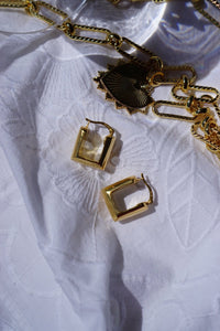 Thick Rectangular Golden Hoop Earrings