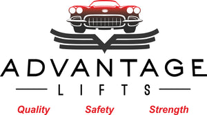 "Advantage Lifts logo with he Advantage Lifts ""Quality, Safety, and Strength"" mantra."